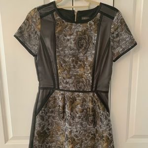 Brocade and satin floral cocktail dress